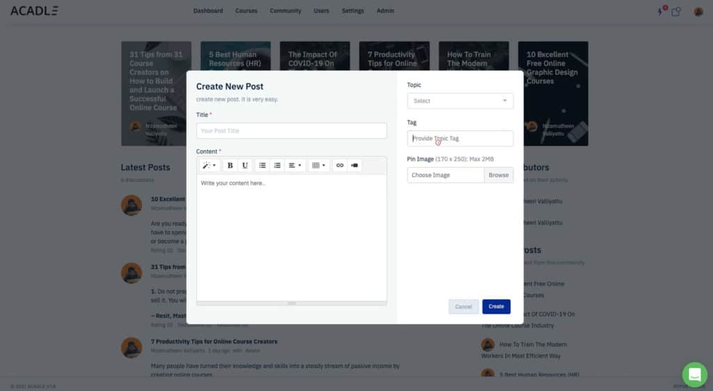 Create new post in Acadle Community