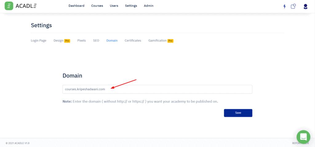 Custom domain in Acadle