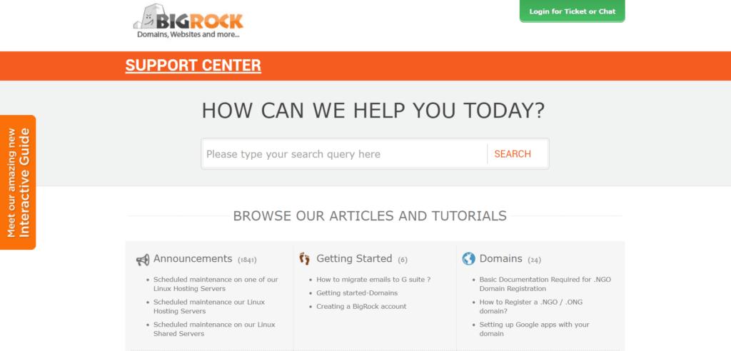 BigRock support