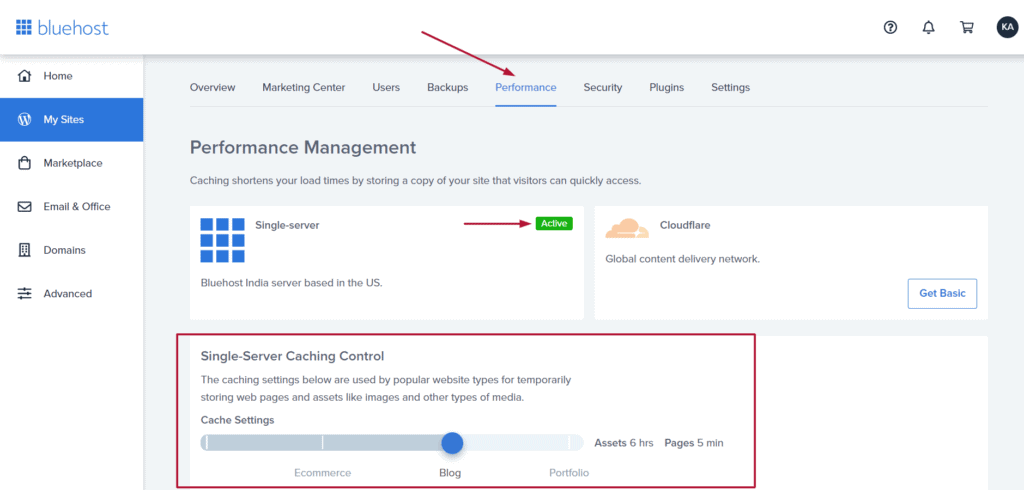 bluehost Cache