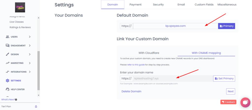 Custom domain in Spayee