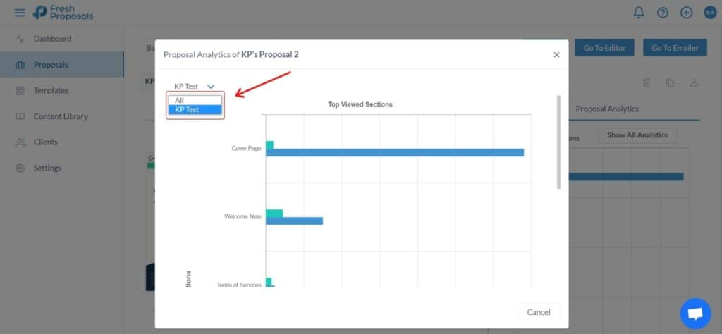 Fresh Proposals multiple client analytics