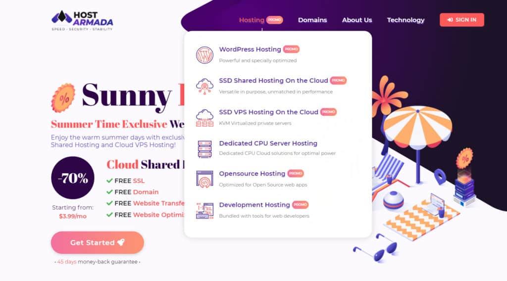 HostArmada Home page