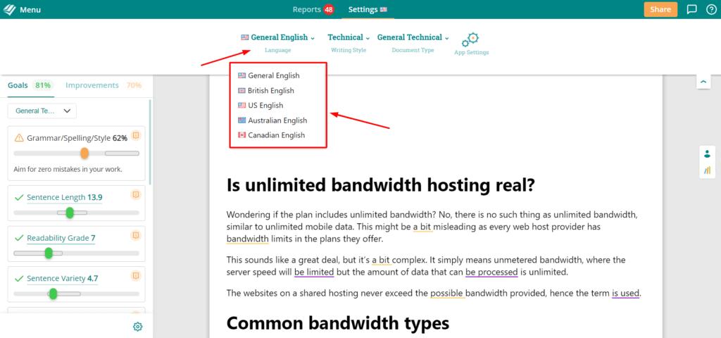 Language Settings in ProWritingaID