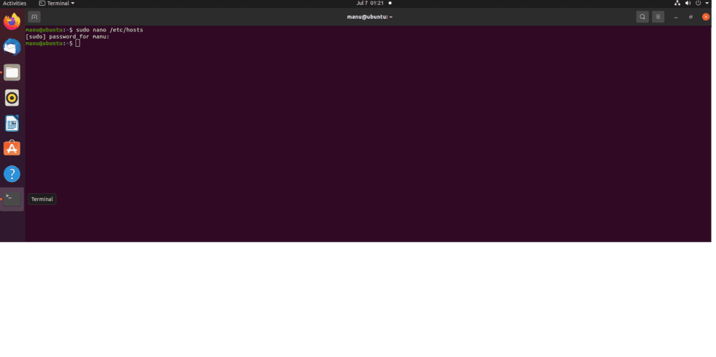 (Linux) Step 1 - open the hosts file