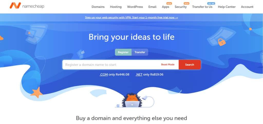 Namecheap home page