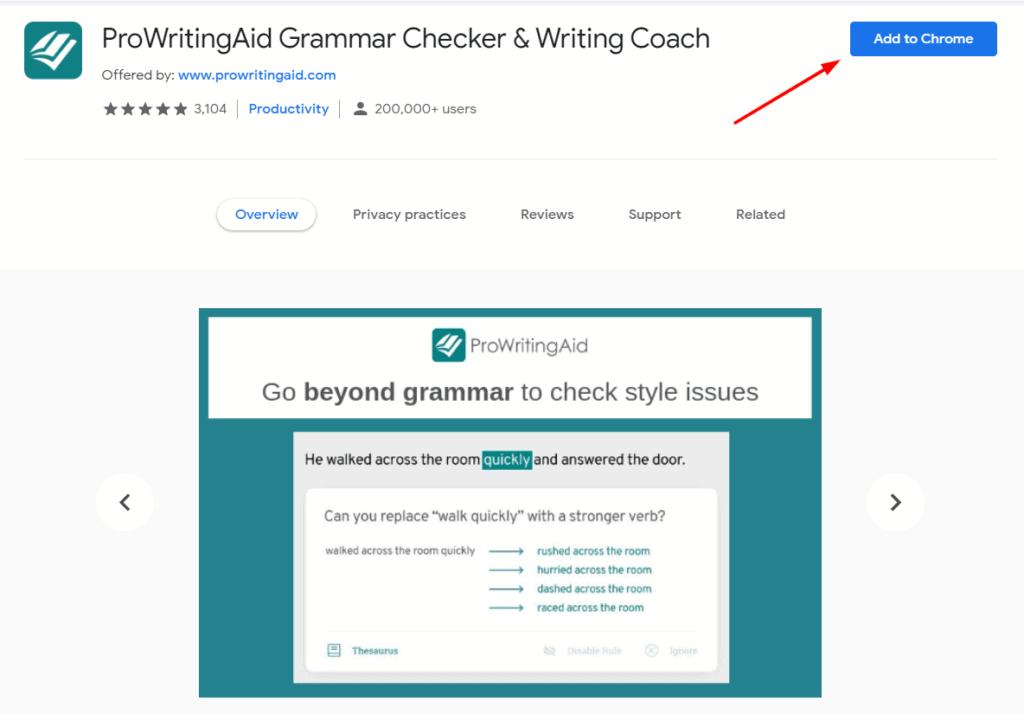 ProWriitingAid Chrome extension