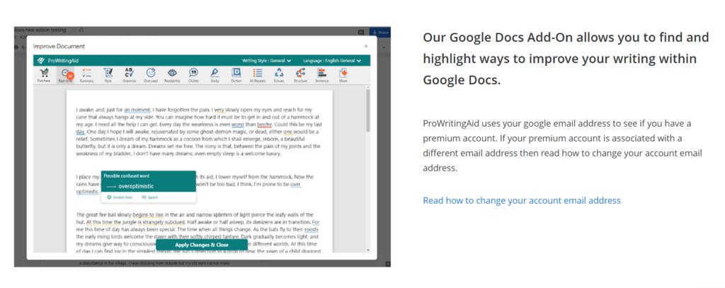 ProWriitingAid Google Docs add-on