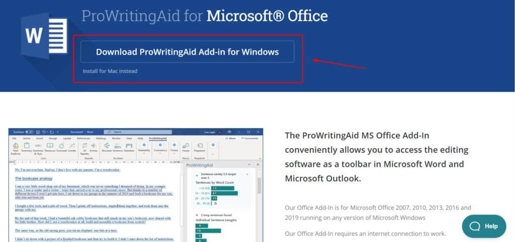 ProWritingAid MS office integration