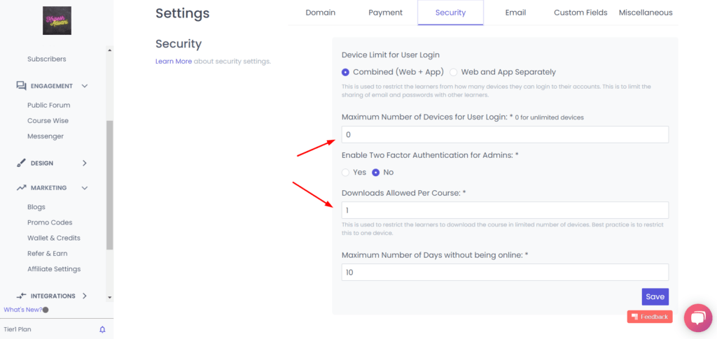 Security features in Spayee