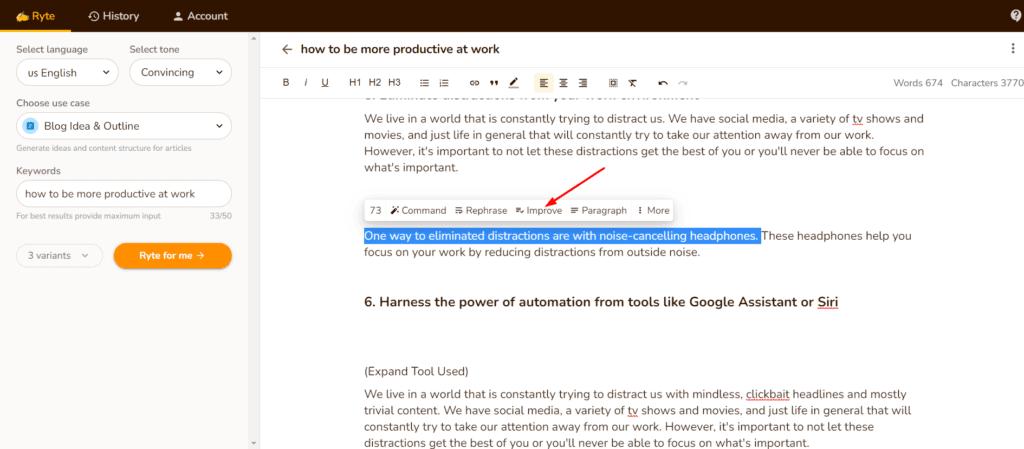 Text Editing - Improve Tool input