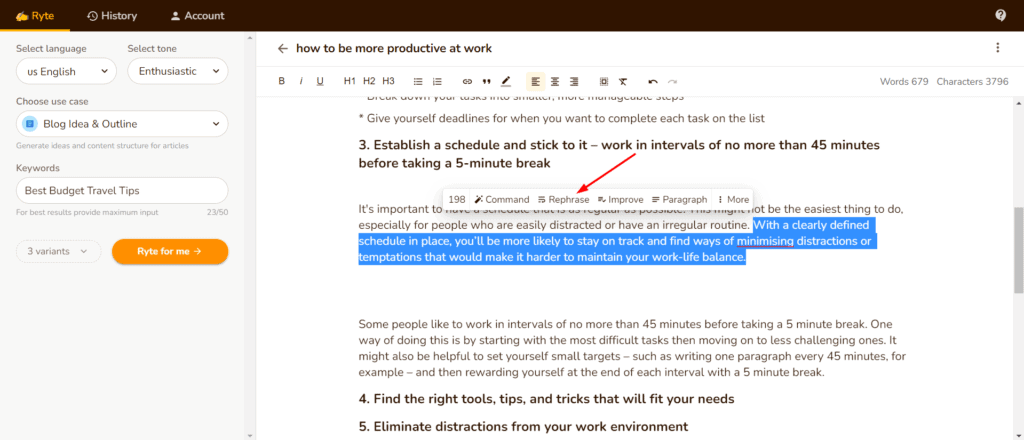 Text Editing Rephrase Tool input 1