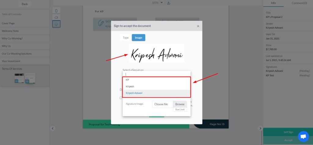 Upload eSignature in Fresh Proposals