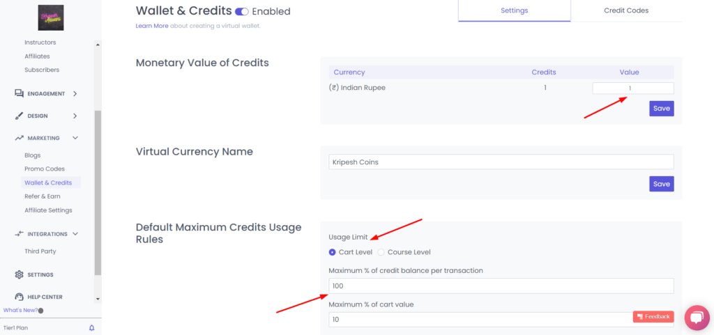 Wallets and Credits in Spayee