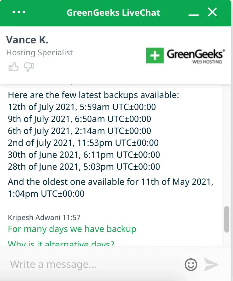 GreenGeeks backup dates