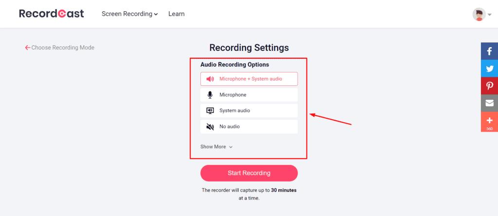 RecordCast Advanced audio Settings