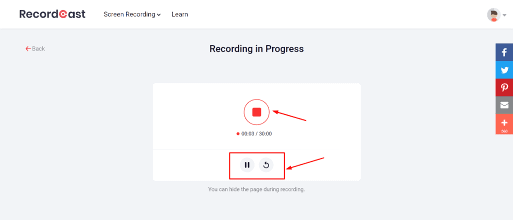 RecordCast Video Recording settings