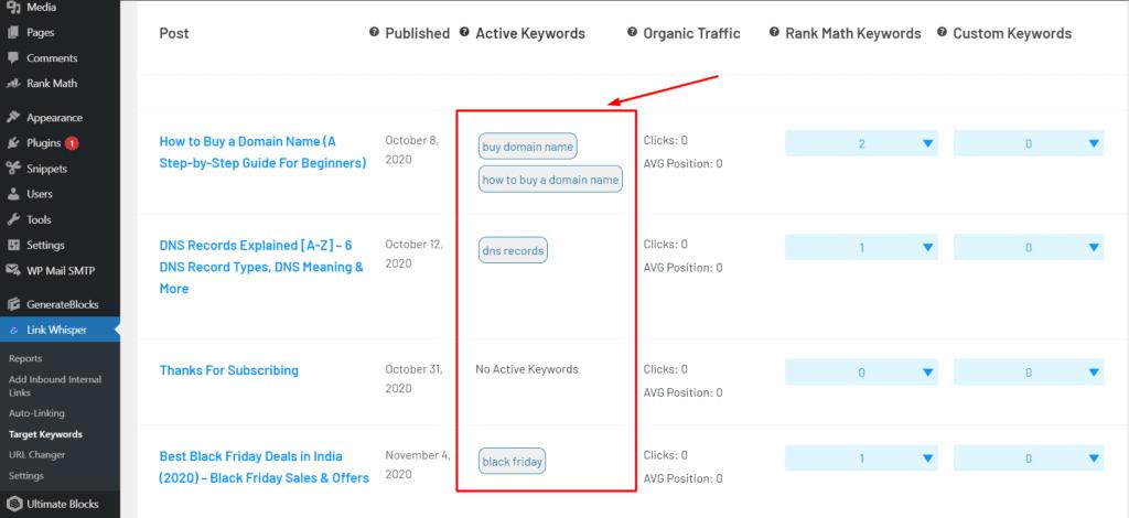 Target keywords in Link whisper