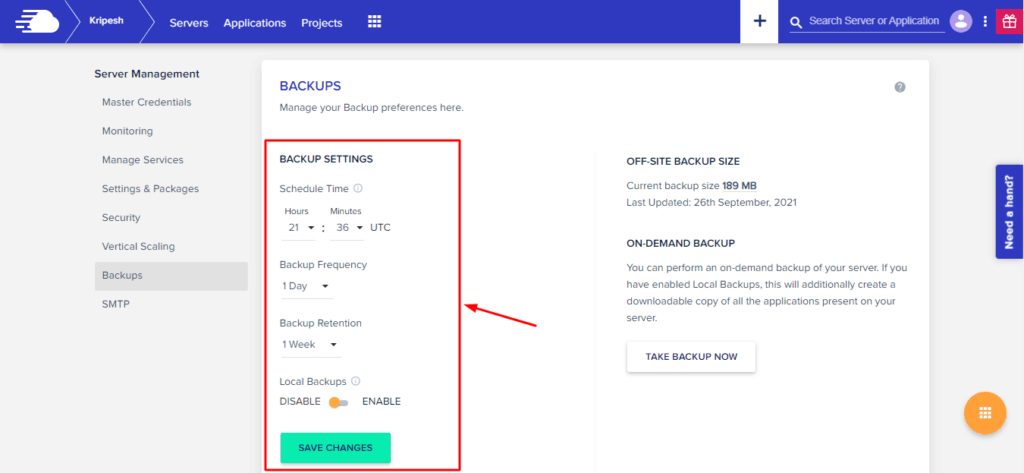 Backup preferences